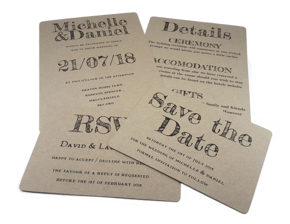 Recycled Rustic Wedding Stationery